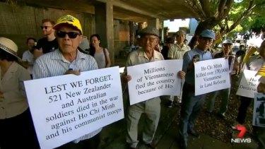Protesters outside Uncle Ho restaurant, Brisbane.