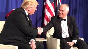 The Donald Trump and Malcolm Turnbull handshake.