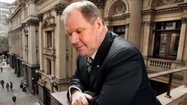Robert Doyle at Town Hall, overlooking Melbourne Metro's proposed path. He does not support a levy to pay for the project.