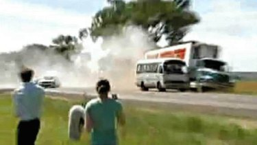 Tony Abbott's near miss car accident on the Princess Highway today. Still from ABC news.  17th February 2010.