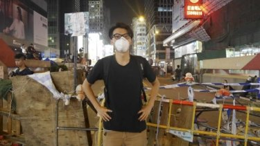 Alvin Cheng at the Mong Kok protest site in Hong Kong in October 2014.