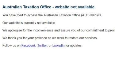 An error message on the ATO website on Thursday morning.