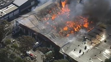 Fire destroys a furniture warehouse in Yennora.