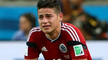 Crying shame: James Rodriguez was not impressed with the referee.