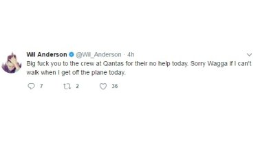 Wil Anderson's deleted tweet.