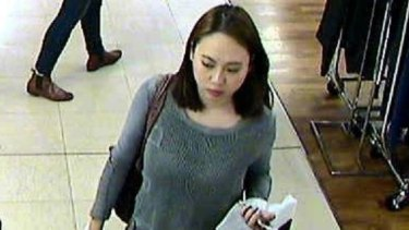Michelle Leng seen in CCTV footage in Pitt Street earlier on the day in April 2016 that she was detained by her uncle, later to be murdered.
