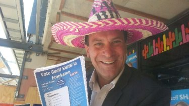 Soon-to-be former Frankston MP Geoff Shaw outside an early voting booth.