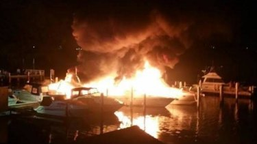 Police are investigating the cause of a fire which destroyed three boats and damaged several others at Toronto.