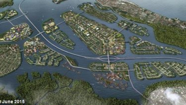 Benoa Bay masterplan. Model of what  Benoa Bay reclamation would look like.