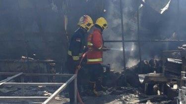 A fire at a fireworks factory near Jakarta kills dozens