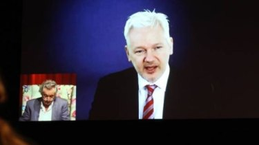 Julian Assange speaks with Robert Manne at the Ulumbarra Theatre as part of the 2016 Bendigo Writers Festival.