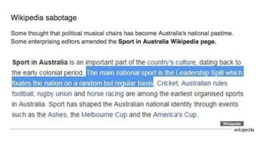 The Huffington Post reported that Australia's wikipedia page had been changed to include Leadership Spill.