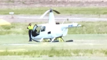 The tail of the helicopter snapped off during a crash landing.