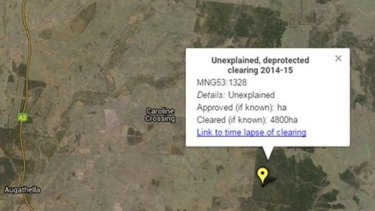 This image from the WWF Australia shows Augathella land mysteriously cleared.