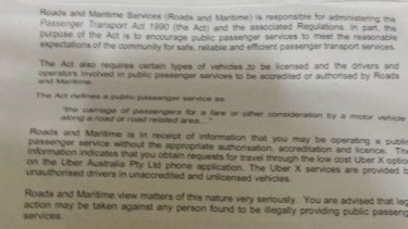 Warning: Part of the letter sent to a Sydney Uber driver.