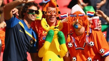 Nations unite: Australian fans have been embraced by other nationalities in Brazil.
