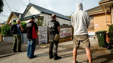 Protesters and homeless people in Bendigo Street in April.