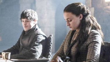 Sophie Turner as Sansa Stark with her sadistic husband Ramsay Bolton, played by Iwan Rheon.