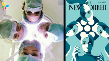 Women at the Los Angeles Children's Hospital joined others on Twitter to recreate the cover.