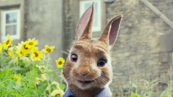 Peter Rabbit, voiced by James Corden in a scene from Peter Rabbit. Photo: Columbia Pictures/Sony via AP
