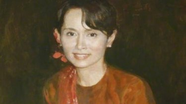 A detail of the 1997 painting of Myanmar's Aung San Suu Kyi by Chen Yanning which hung at St Hugh's College, Oxford University, until this week.