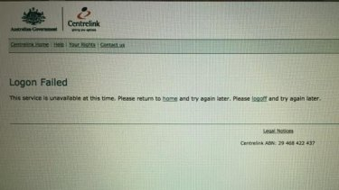 A screenshot of one user's attempt to login to the MyGov online portal, which has left clients blocked from the system for up to two weeks.
