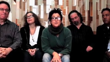 Returning to honour Prince ... Wendy Melvoin, centre, with some of the members of The Revolution.