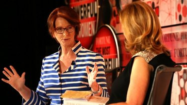 Former Australian prime minister Julia Gillard speaking in London at the Most Powerful Women summit hosted by Fortune Magazine.