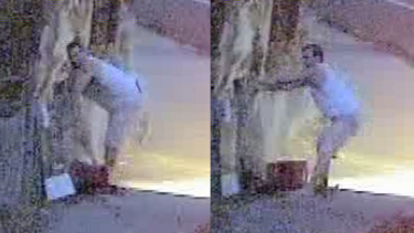 CCTV images of a man police believe may have been dropping tacks on the Yarra Boulevard in Kew.