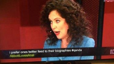 A screenshot of the lewd tweet during Monday night's <i>Q&A</i>.