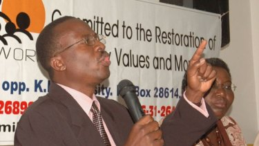 Stephen Langa speaking at a family values rally.