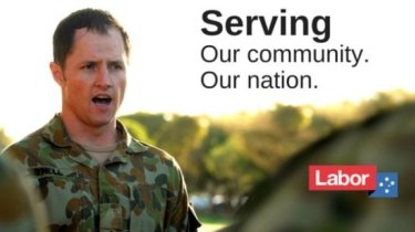 Labor candidate for Brisbane Pat O'Neill will remove billboards depicting him in his army uniform.
