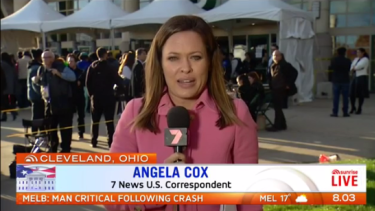 Seven's Angela Cox is embedded in the Clinton camp.