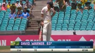 David Warner takes a moment after reaching 63 not out.