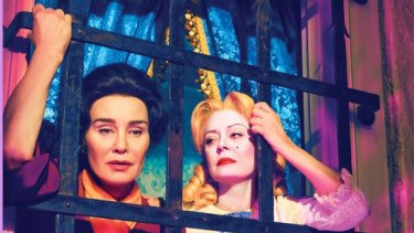 Jessica Lange (left) plays Joan Crawford to Susan Sarandon's Bette Davis in the delicious mini-series <i>Feud</i>.