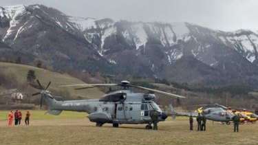 Recovery crews scouring mountain terrain for debris from the crashed Germanwings flight.
