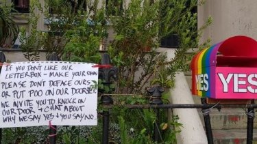 The couple have now put this note next to their letterbox.