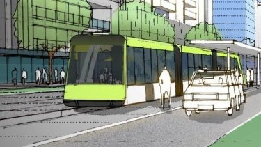 An artist's impression of Callam Street in Woden with light rail.