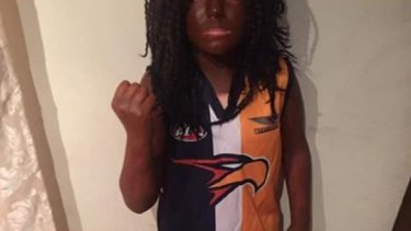 Book Week blackface: The boy dressed up as AFL footballer Nic Naitanui.