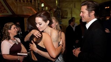Krystal Barter, Angelina Jolie and Brad Pitt at the Unbroken premiere in Sydney.