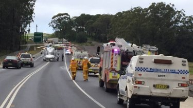 Emergency services at the scene of the fatal crash on the Princes Highway on April 4.