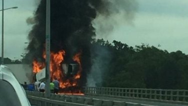 Many motorists posted pictures of the blaze online.