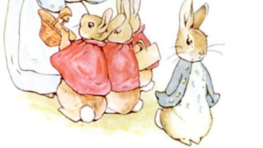 Gearing up to shoot ... an illustration from Beatrix Potter's <i>The Tale of Peter Rabbit</i>.