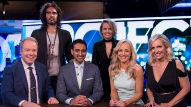 Brand with the hosts and fellow guest Lara Worthington on The Project.
