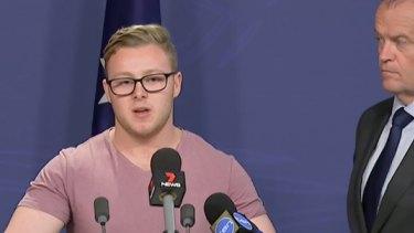 Trent Hunter with Opposition Leader Bill Shorten on Thursday.