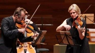 "Richard Tognetti and Helena Rathbone face off in the ""Bach Double""."