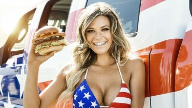 "Light fare: The burger chain's ad stars ""Sports Illustrated"" swimsuit model Samantha Hoopes."