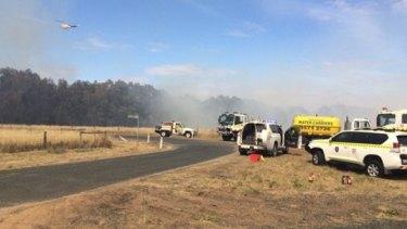Firefighting vehicles at the Bullsbrook bushfire.