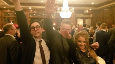 Former reality star Tila Tequila, right, giving a Nazi salute at the alt-right conference in Washington DC on Saturday.