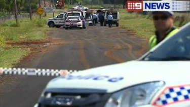 Police investigate the suspected hit and run at Oakey.